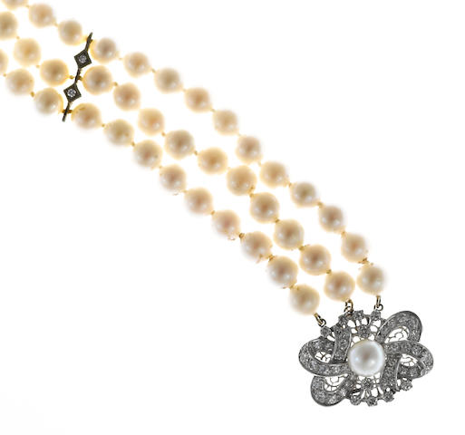 A cultured pearl and diamond three-row choker necklace