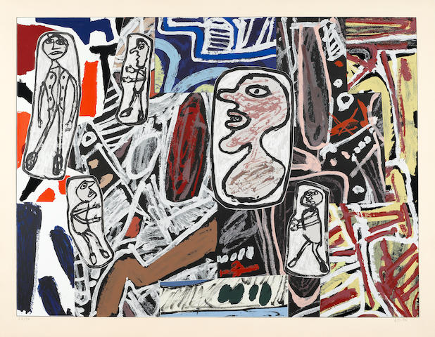 Jean Dubuffet, Faits Memorables III, 1978, (W.1261), Color screenprint, Initialed in pencil, dated '78' and numbered 67/70