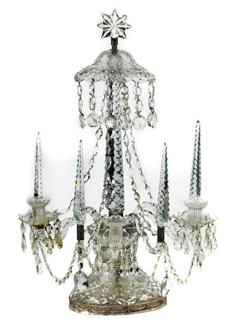 A George III style cut glass large three-light candelabrum 19th century