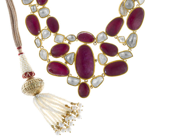 A diamond, red stone, cultured pearl and enamel bib necklace