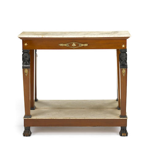 An Empire gilt bronze mounted parcel ebonized console table<BR />early 19th century