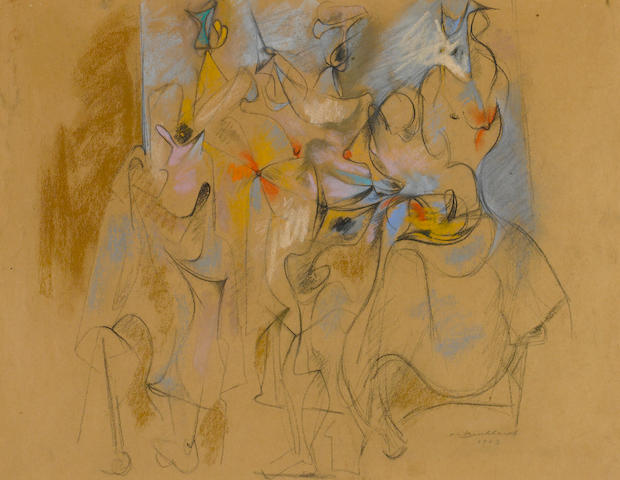 Hans Burkhardt (Swiss/American, 1904-1994) Abstract Figures, 1943 20 1/2 x 25 1/2in