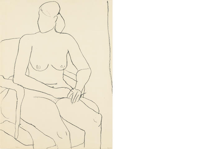 Richard Diebenkorn, Seated Nude, 1965, Lithograph, Signed