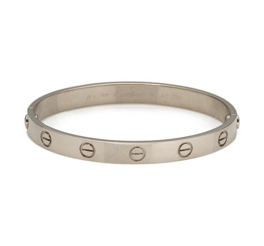"An eighteen karat white gold ""Love"" bangle bracelet, Cartier,"