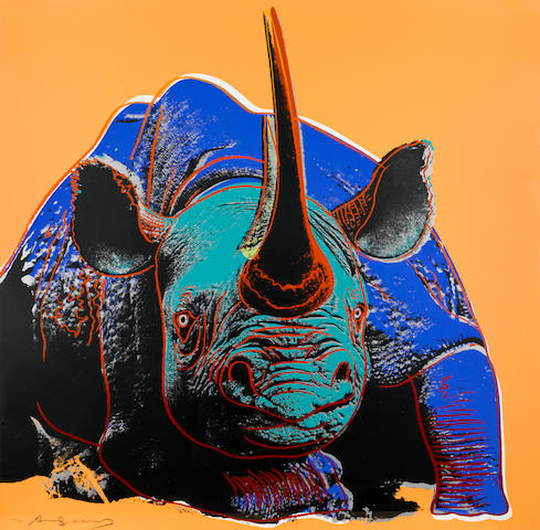Andy Warhol, Black Rhinoceros from Endangered Species, (F&S II 301), 1983, color screenprint