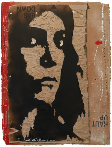 Jef Aerosol (b.1957) Patti Smith 2012  signed and dated 2012  stencil spray paint on cardboard  48 7/16 by 37 13/16 in. 123 by 96 cm.