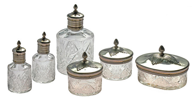 Vanity set, six cut glass and silver items