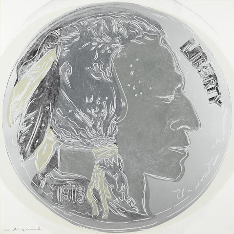 Andy Warhol (American, 1928-1987); Indian Head Nickel, from Cowboys & Indians (F&S. II 385) 1986 signed and numbered AP 33/50;