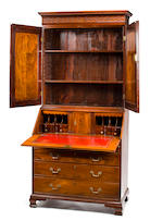 A George III mahogany bureau bookcase,  fourth quarter 18th century