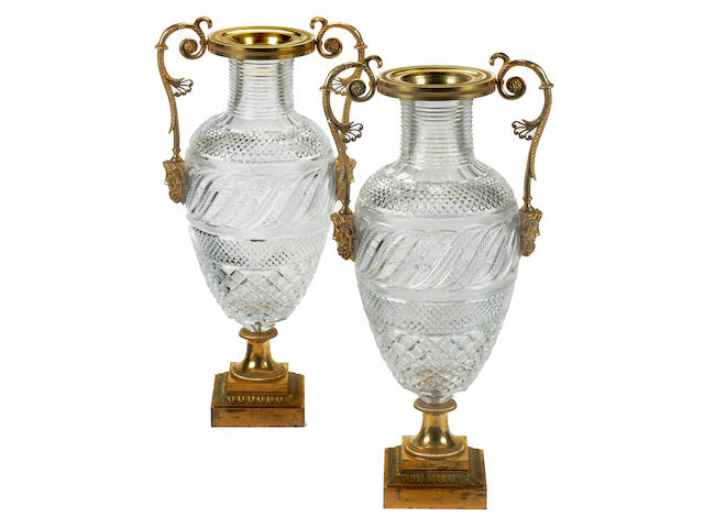 Pair of Russian Palace cut glass vases with bronze mounts