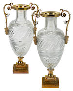 A pair of important Russian Neoclassical gilt bronze mounted cut glass vases Imperial Glass Factory, St. Petersburg, circa 1825