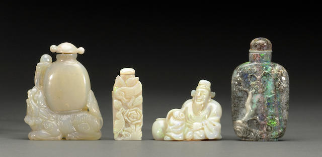 A group of four opal bottles 20th century