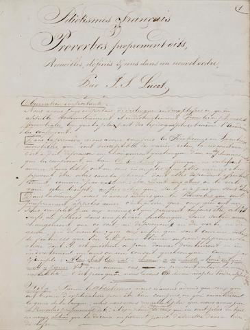 """LUCET, [JOACHIM SIMEON. 1797-1855]. Manuscript entitled """"Idiotismes Francais et Proverbes proprement dits, recueillis, definis et mis dans un nouvel ordre,"""" [France: early 19th century]."""