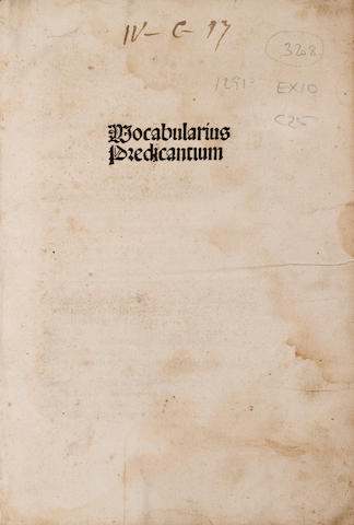 Melber, Johannes - Vocabularius praedicantium, sive variloquus.  [Strassburg: Georg Husner, c.1500] - 4to, - 16th-cent pigskin-backed bds - lacking 1 clasp - 36 lines & headline; gothic letter. - Some dampstaining, mainly in margins - 172 leaves. Goff M-472 - Sotheby's, Dec 5, 1991, lot 24,