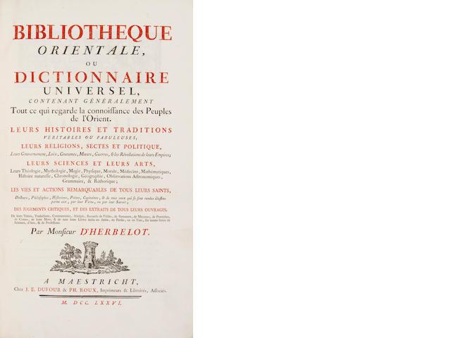 Herbelot, Barthelemy d', 1625-95 - Bibliotheque orientale, ou dictionnaire universel.  Maestricht, 1776 -