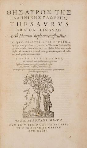 ESTIENNE, HENRI. 1528?-1598. Thesaurus Graecae linguae. [Geneva]: Henri Estienne, [1572].