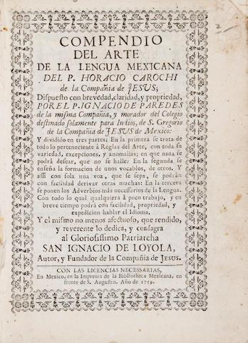 CAROCHI, HORACIO. d.1662. Compendio del arte de la lengua Mexicana. Mexico: Bibliotheca Mexicana, 1759.<BR />