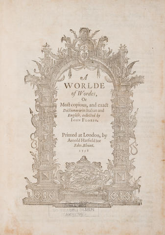 Florio, John, 1553?-1625 - A Worlde of Wordes....  L: A. Hatfield for E. Blount, 1598