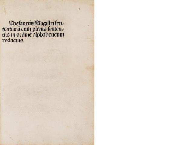 Petrus Lombardus, 1100?-c.1160 - Thesaurus Magistri Sententiarum. NP, 1495.