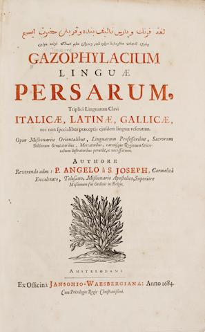 LABROSSE, JOSEPH. 1636-1697. Gazophylacium linguae Persarum. Amsterdam: Janson-Waesberge, 1684.<BR />