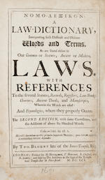 LAW. 1. BLOUNT, THOMAS. 1618-1679. Nomo-lexikon: A law-dictionary, interpreting such difficult and obscure words and terms, as are found either in our common or statute, ancient or modern, laws. London: Herringman, Newcomb, Chiswel, and Bentley, 1691.