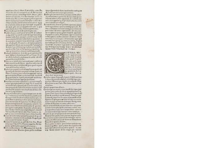 Calepinus, Ambrosius, 1435-1511 - Dictionarium.  Reggio Emilia: Dionysius Bertochus, 1502