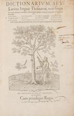 Estienne, Robert. Dictionarium, seu Latinae linguae thesaurus.... Paris, 1536. 2 vols.  PMM 192.