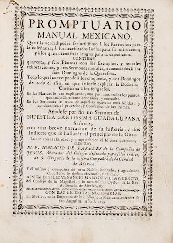 PAREDES, IGNACIO DE. b.1703. Promptuario manual mexicano.... Mexico: Bibliotheca Mexicana, 1759.<BR />