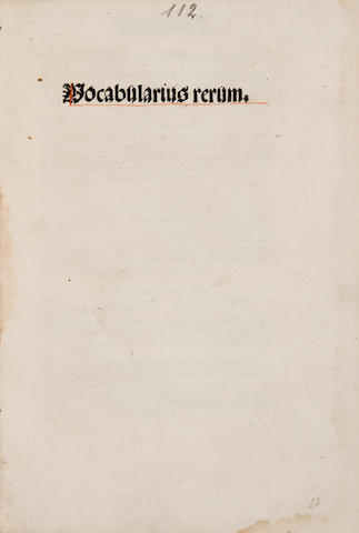 1. Brack, Wenceslaus - Vocabularius rerum.  Strassburg: Ptr of Jordanus de Quedlinburg, 22 Dec, 1495 -