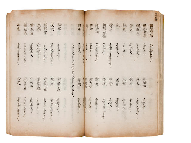 MANCHU PHRASEBOOK. Manuscript Sino-Manchu phrasebook, Gongwen chengyu, being a glossary of phrases used in official documents. [Beijing? Qing Dynasty.]