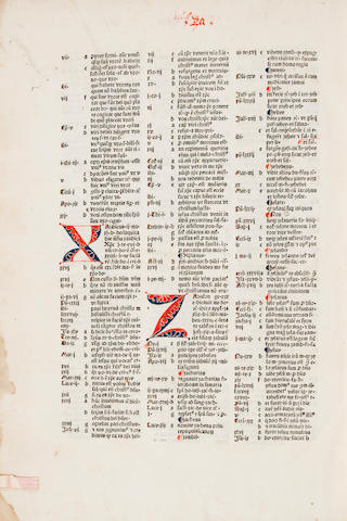 Conradus de Halberstadt - [Alternate Names: Conradus de Alemania] - Concordantiae bibliorum.  [Reutlingen: Michel Greuff, not after 1481] - Folio, - contemp calf over wooden bds - broken & def - Some marginal dampstaining; library stamp on tp - 417 (of 418) leaves; lacking final blank. Goff C-850. General Theological Seminary copy - Christie's New York, Oct 1, 1980, lot 50, $2,200 - Goff; GKW 7419; HC 5630; BMC II, 577; Pellechet 3932; Proctor 2695A