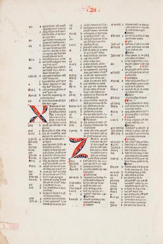 Conradus de Halberstadt - [Alternate Names: Conradus de Alemania] - Concordantiae bibliorum.  [Reutlingen: Michel Greuff, not after 1481] - Folio, - contemp calf over wooden bds - broken & def - Some marginal dampstaining; library stamp on tp - 417 (of 418) leaves; lacking final blank. Goff C-850. General Theological Seminary copy - Christie's New York, Oct 1, 1980, lot 50, $2,200 - Goff; GKW 7419; HC 5630; BMC II, 577; Pellechet 3932; Proctor 2695A