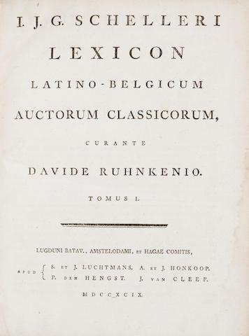 SCHELLER, IMMANUEL JOHANN GERHARD. 1735-1803. Lexicon Latino-Belgicum auctorum classicorum. Leiden: S. & J. Luchtmans, 1799.