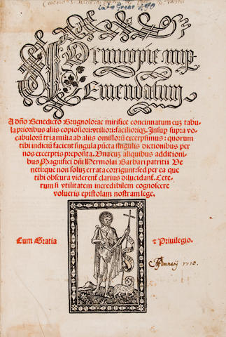 "Perottus, Nicolaus, 1430-80 - Cornucopiae.  ""Cornucopie nuper emendatum a don Benedicto Brugnolo....""  Venice: Joannes de Tridino alias Tacuinum, 1508 - Folio, - 17th-cent vellum - soiled - Lacking final leaf; some browning & staining; small wormhole in inner margin of a few leaves affecting some initials & letters - Christie's, Dec 7, 1988, lot 83, £180"