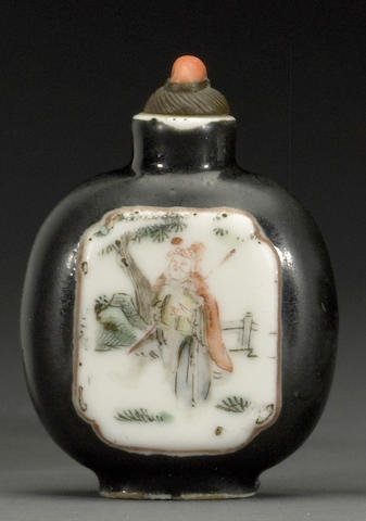 An enamel decorated porcelain snuff bottle  1820-1880