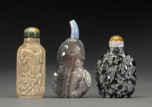 Two stone snuff bottles  20th century