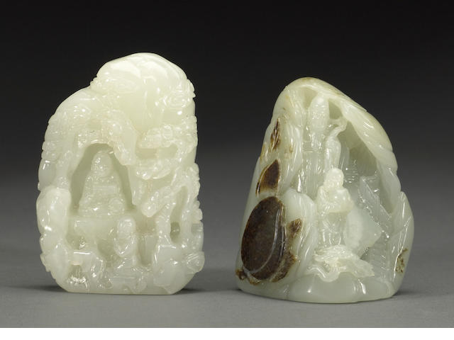 Two small carved jade boulders