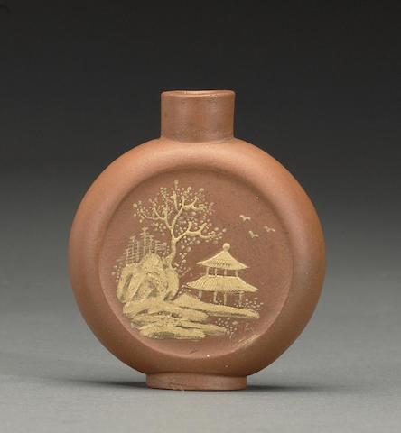 A Yixing stonware snuff bottle Qianlong mark