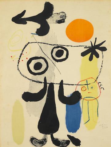 Joan Miró (1893-1983); Personaje y Sol Rojo II;