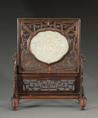 A white jade plaque mounted in a table screen Qing dynasty