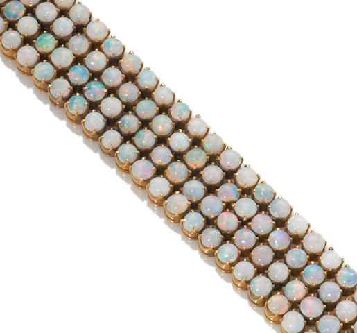 An opal four-row bracelet