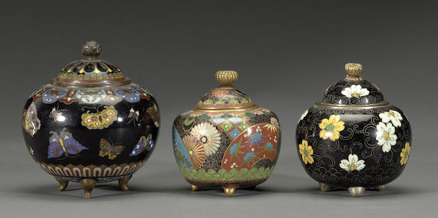 Three small cloisonné enamel koro Meiji period