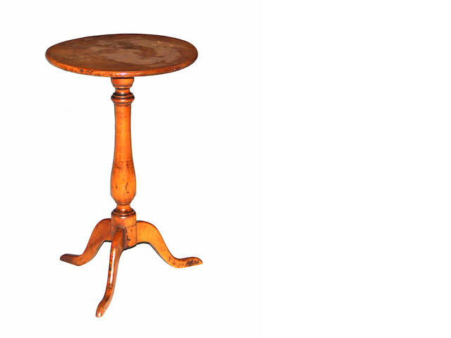 A Chippendale maple candle stand  New England<BR />late 18th century