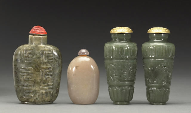 Four jade and hardstone snuff bottles