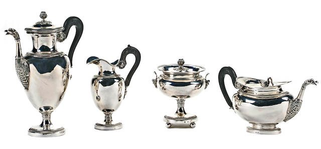 A Belgian 2nd standard silver four piece tea and coffee service