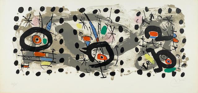 Joan Miró (1893-1983); Solar Bird, lunar bird, sparks;
