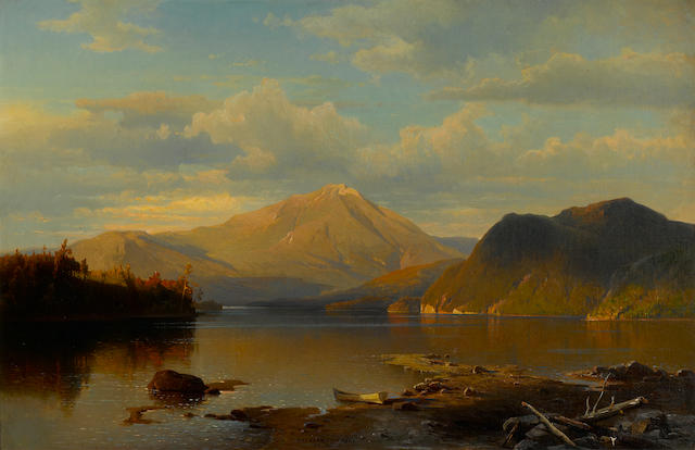 Herman Fuechsel (American, 1833-1915) Lake scene at sunset 20 x 30in
