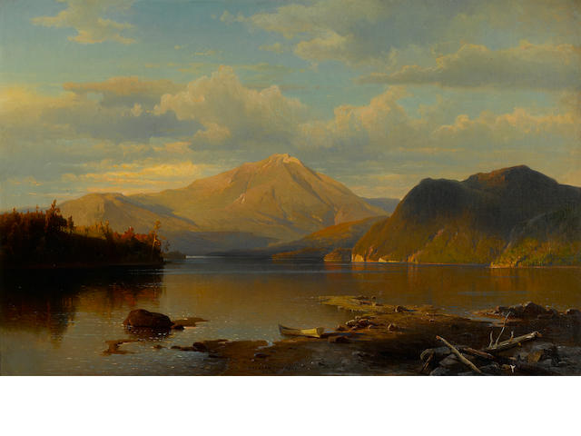 1 ptg. by Hermann Fueschel, Lake scene, N.Y.  Price to be confirmed.  If it is less please discuss with the owner.