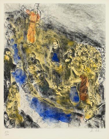 Marc Chagall (1887-1985); Moïse fait jaillir l'eau du rocher, Pl. 36, from La Bible;