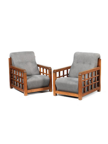 Francis Jourdain A Pair of Armchairs circa 1930  oak and fabric upholstery  Height: 32 5/16 in. 82 cm.